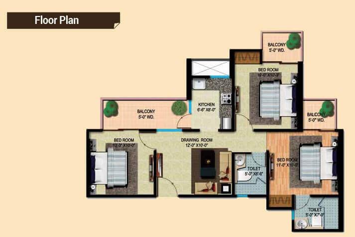 mahaluxmi migsun ultimo apartment 3bhk 995sqft 1