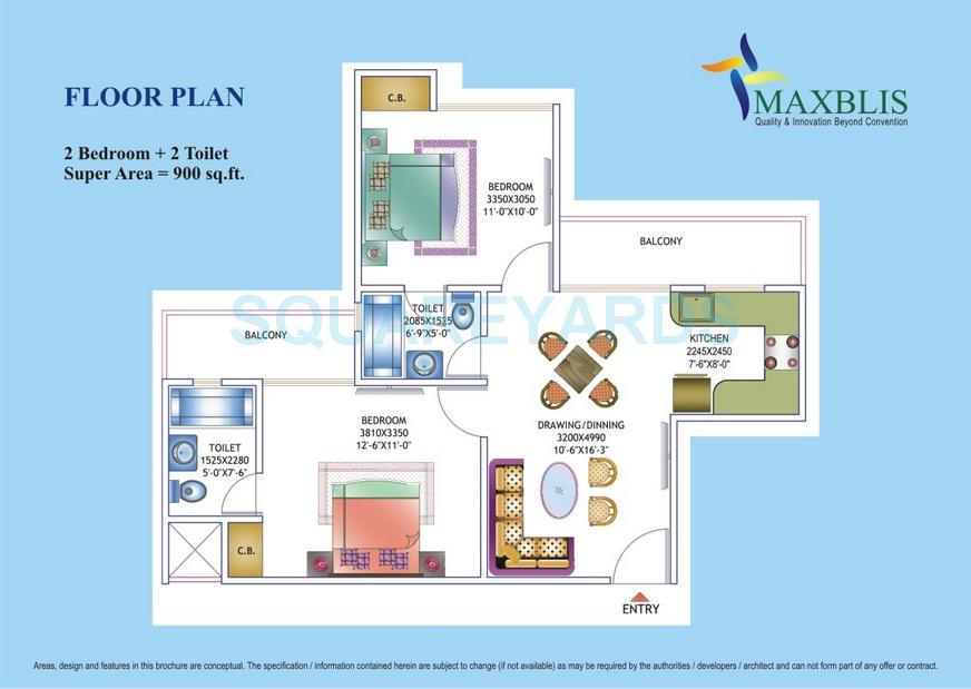 2 BHK 900 Sq. Ft. Apartment Floor Plan