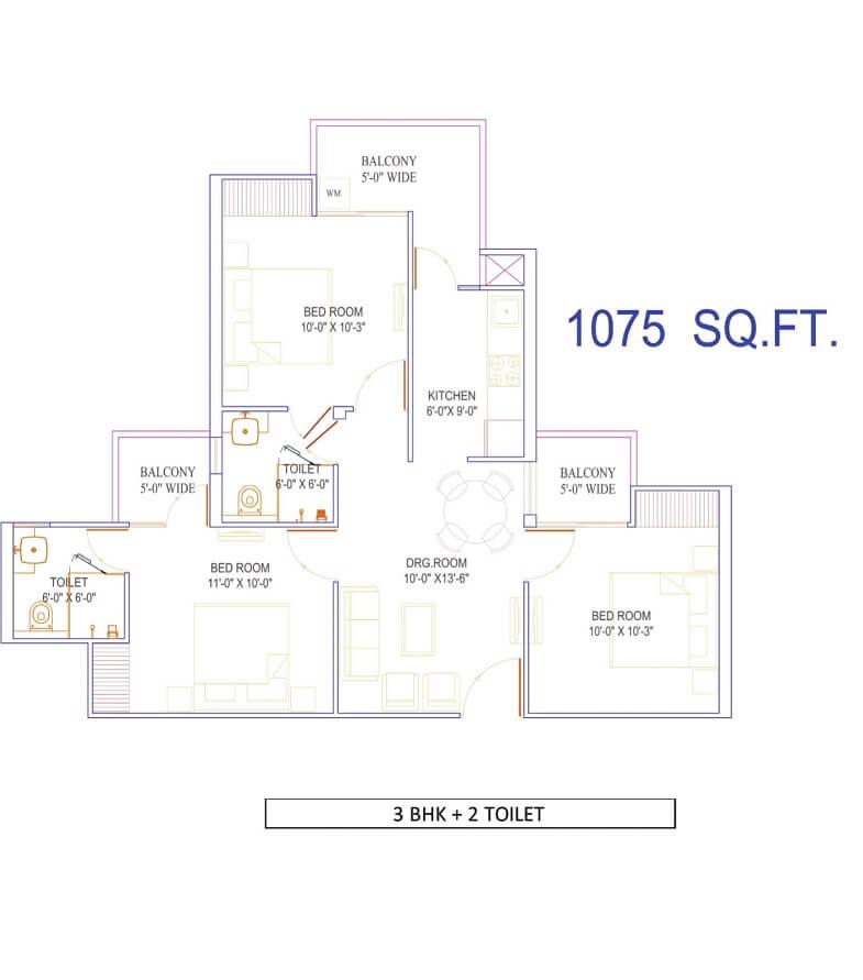 migsun vilaasa apartment 3bhk 1075sqft 1