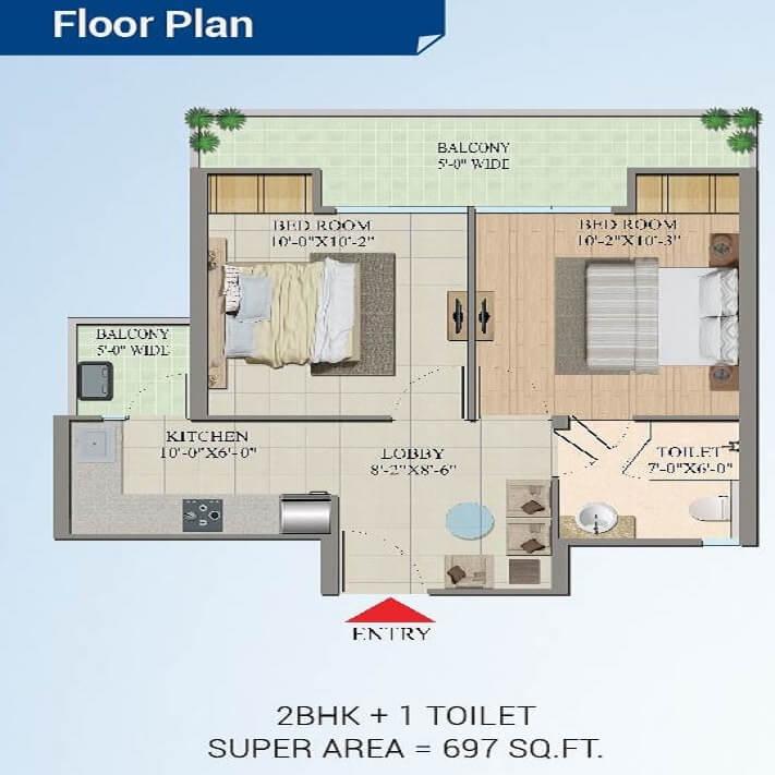 migsun wynn apartment 2bhk 697sqft 1