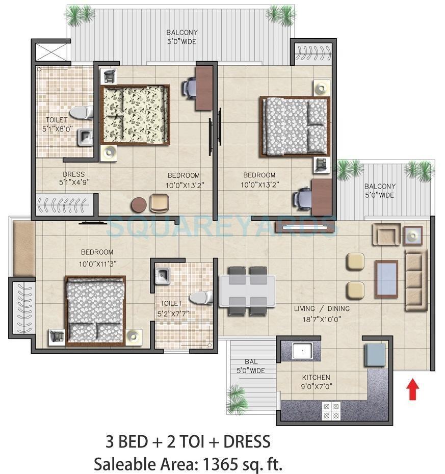 nirala aspire apartment 3bhk 1365sqft 71
