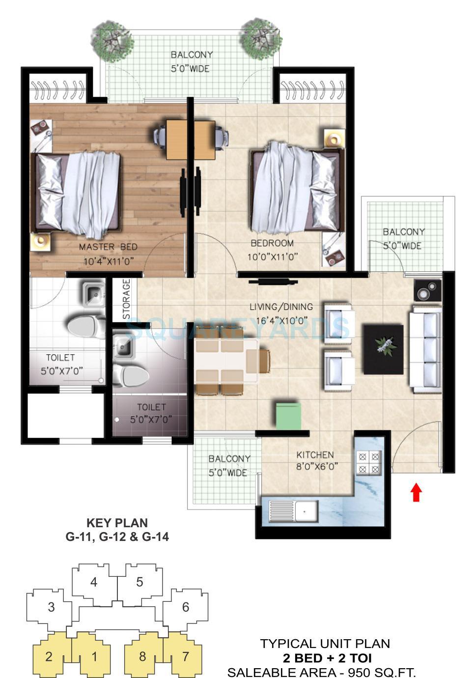 nirala greenshire apartment 2bhk 950sqft 1