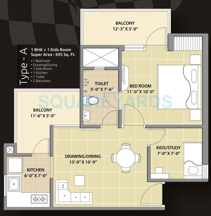 oasis grandstand apartment 1bhk 695sqft 1