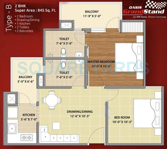 oasis grandstand apartment 2bhk 845sqft 1