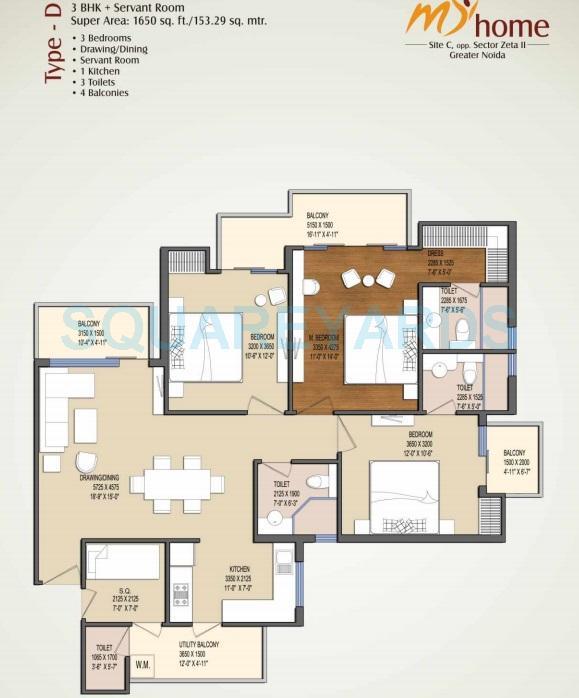 oasis my homes apartment 3bhk 1650sqft 1