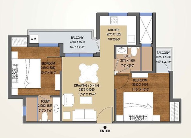 2 bhk flat floor plans for Sq 850