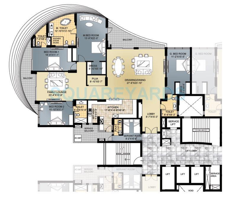 4 Bhk 3550 Sq Ft Apartment Floor Plan