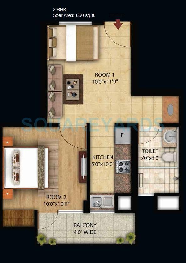 omson star residency apartment 2bhk 650sqft 1