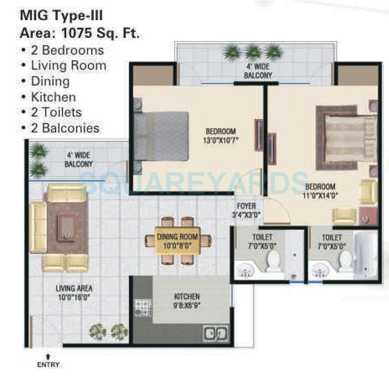 panchsheel greens apartment 2bhk 1075sqft 101