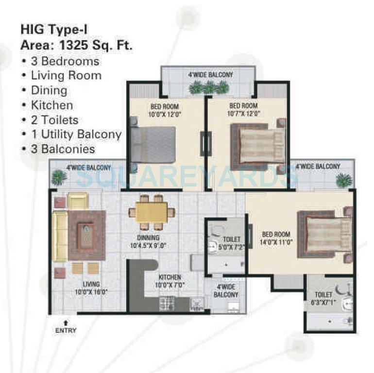 panchsheel greens apartment 3bhk 1325sqft 101
