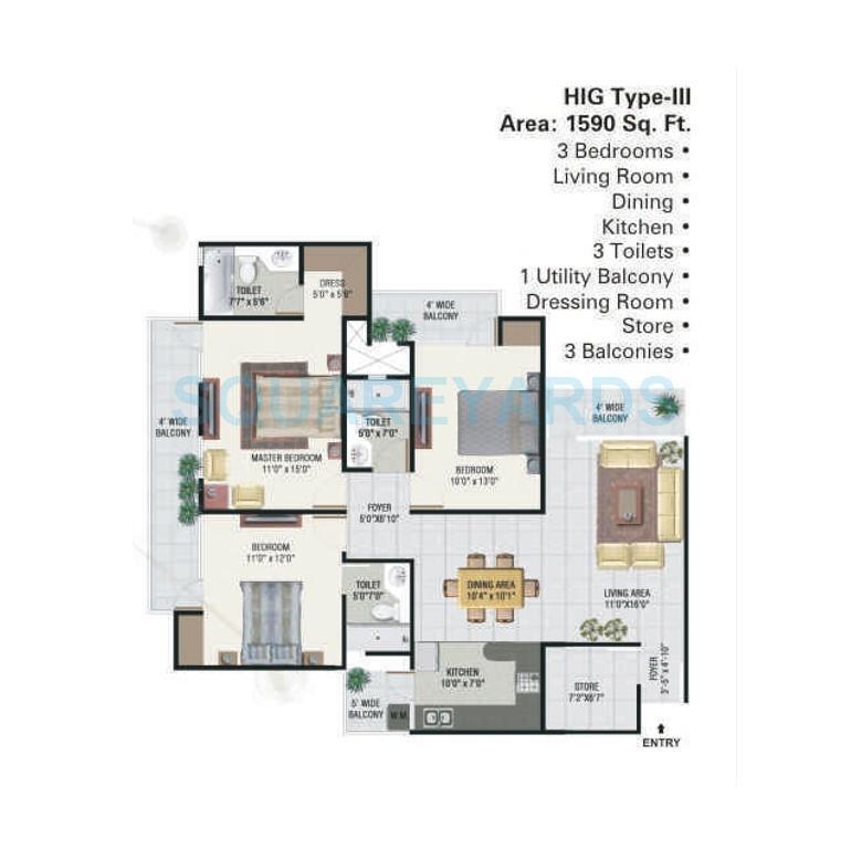 panchsheel greens apartment 3bhk 1590sqft 101