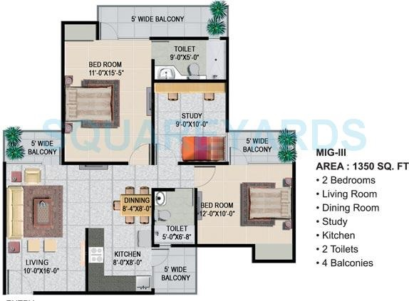 panchsheel greens ii apartment 2bhk st 1350sqft 71