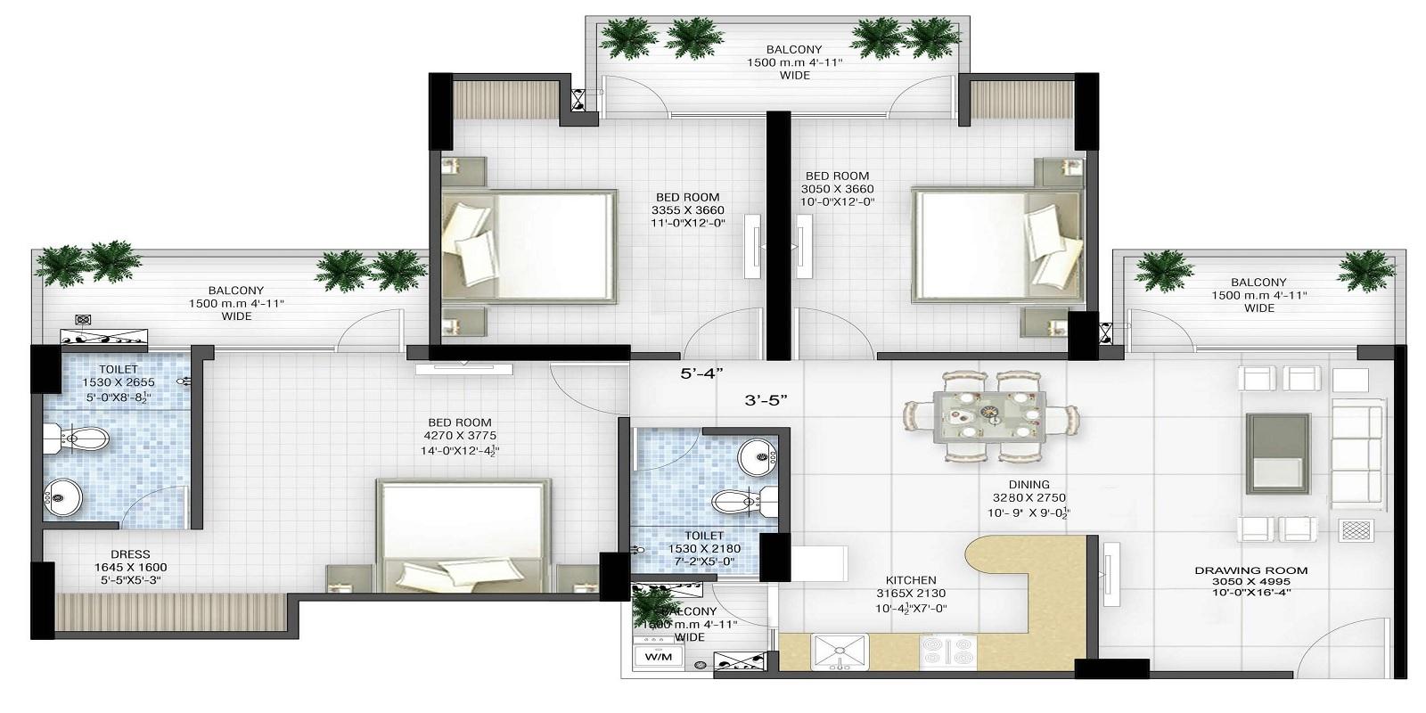 panchsheel greens ii apartment 3bhk 1480sqft 71