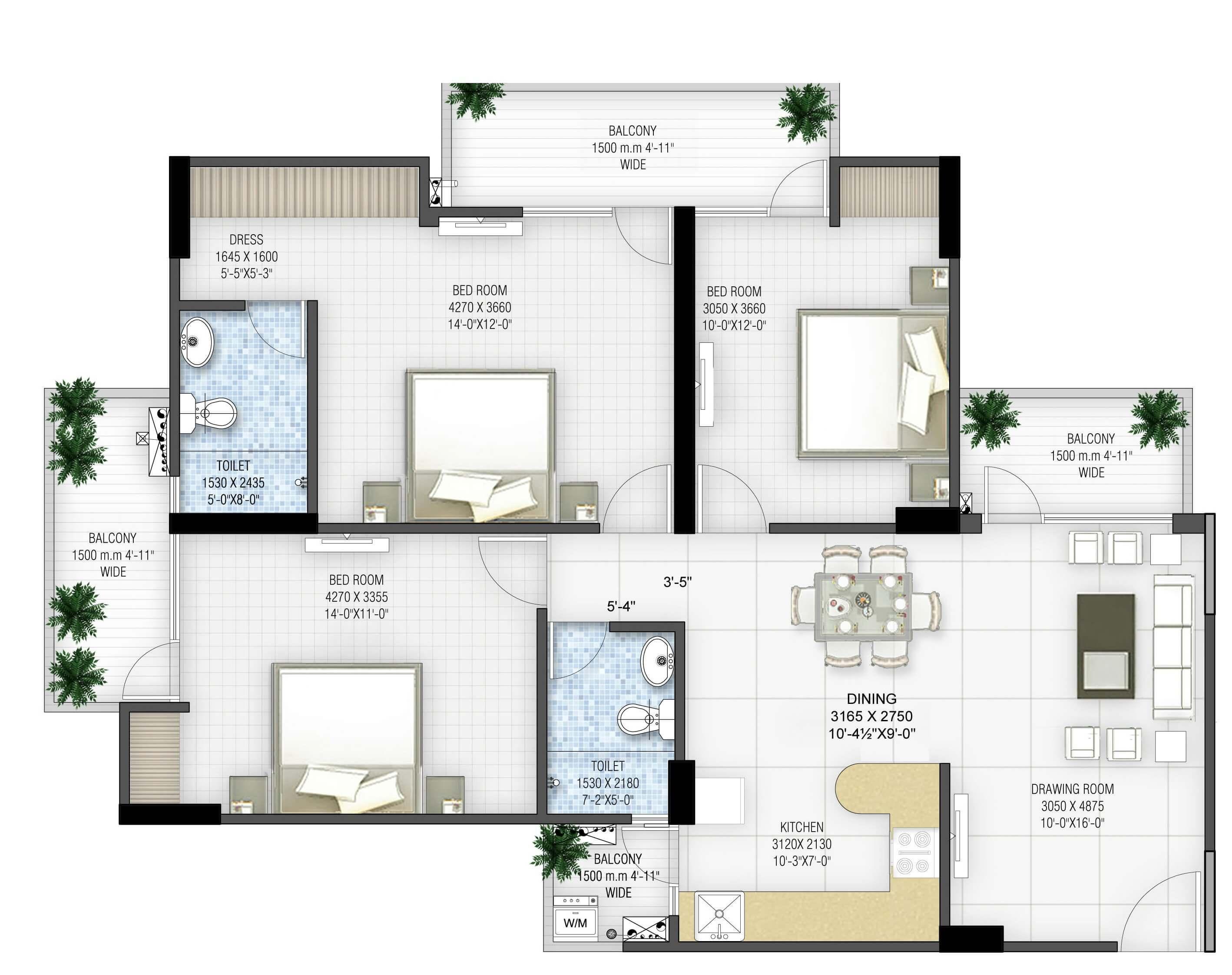 panchsheel greens ii apartment 3bhk 1510sqft 1