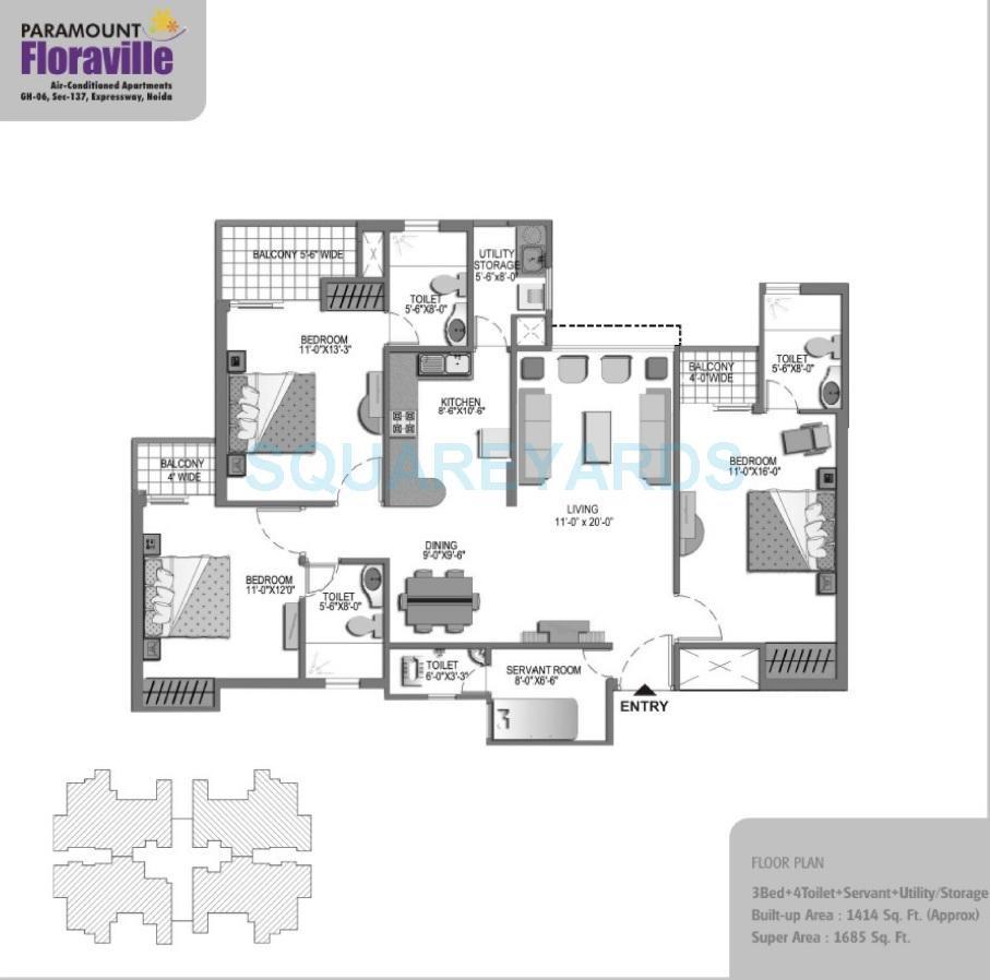 paramount floraville apartment 3bhk sq 1685sqft 61