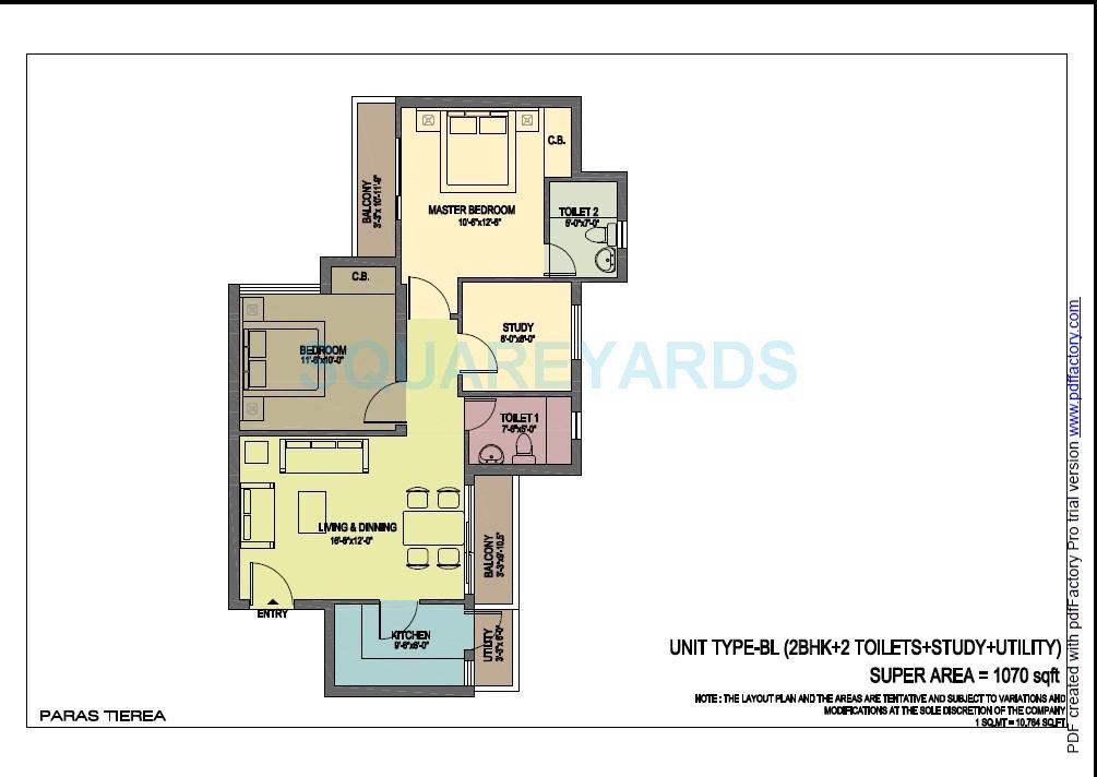 paras tierea duplex apartment 2bhk sq 1070sqft 1