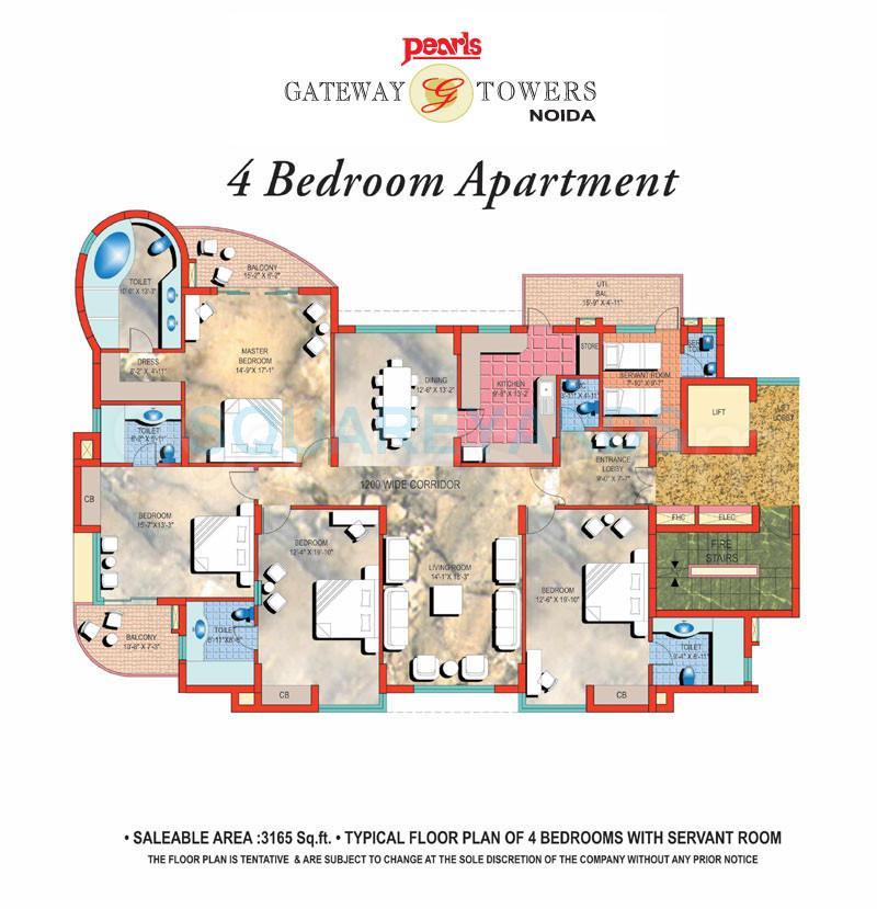 pearls gateway tower apartment 4bhk sq 3165sqft 1