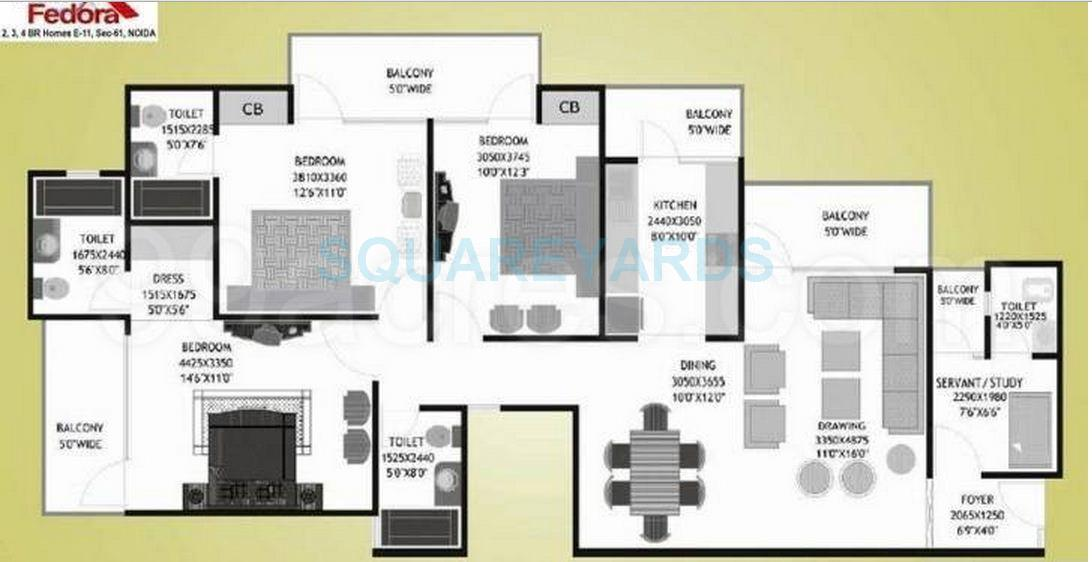 prateek fedora apartment 3bhk sq 1940sqft 1