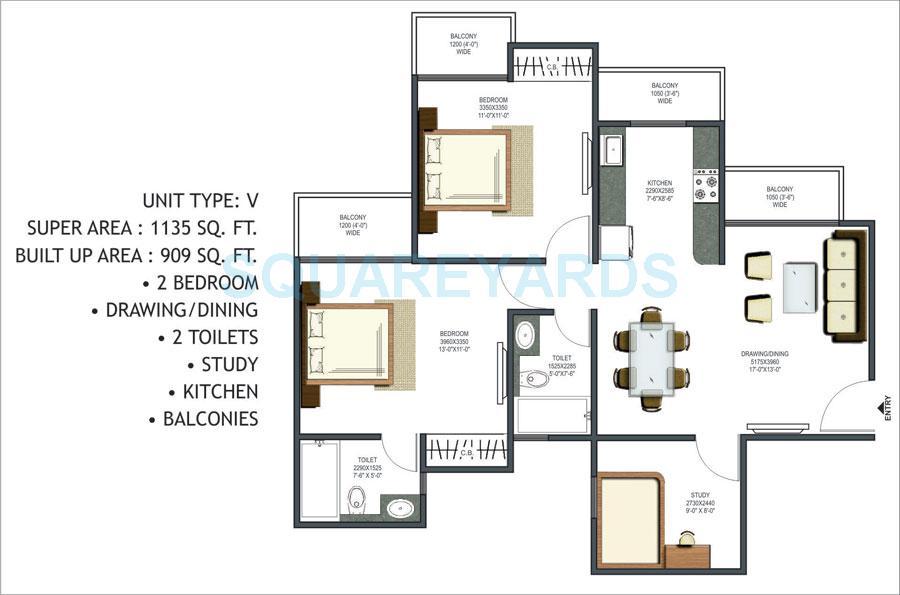 prateek wisteria apartment 2bhk st 1135sqft 1