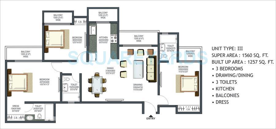 prateek wisteria apartment 3bhk 1560sqft 1
