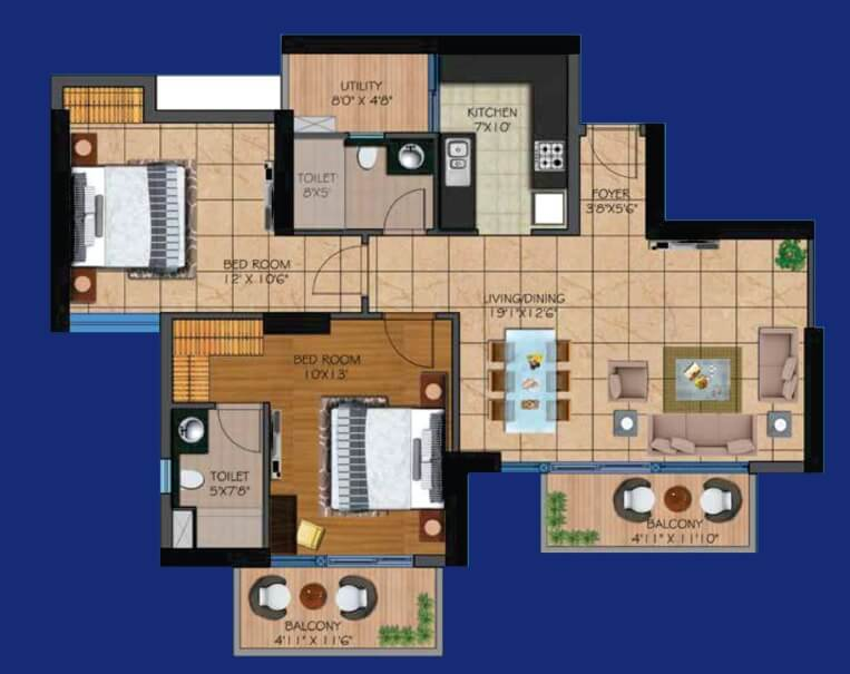 presithum apartment 2bhk 1270sqft 1