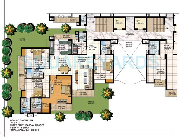 purvanchal heights apartment 4bhk lawn 2320sqft 1