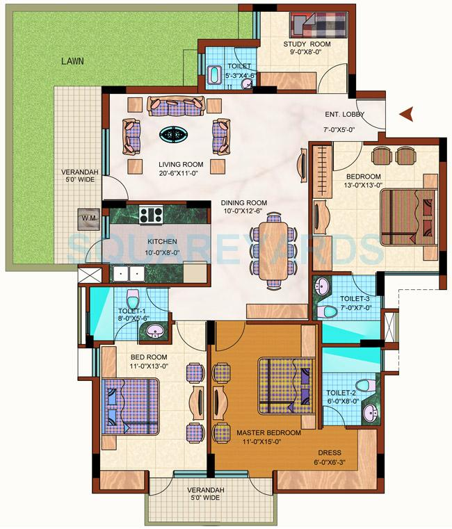 purvanchal royal park apartment 3bhk 1950sqft lawn1