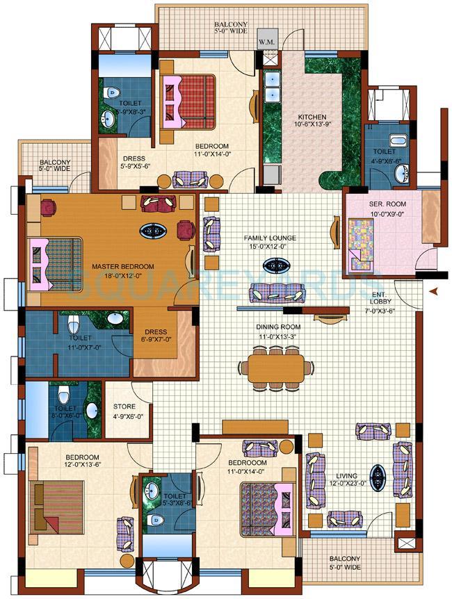 purvanchal royal park apartment 4bhk typical sq 2955sqft 1