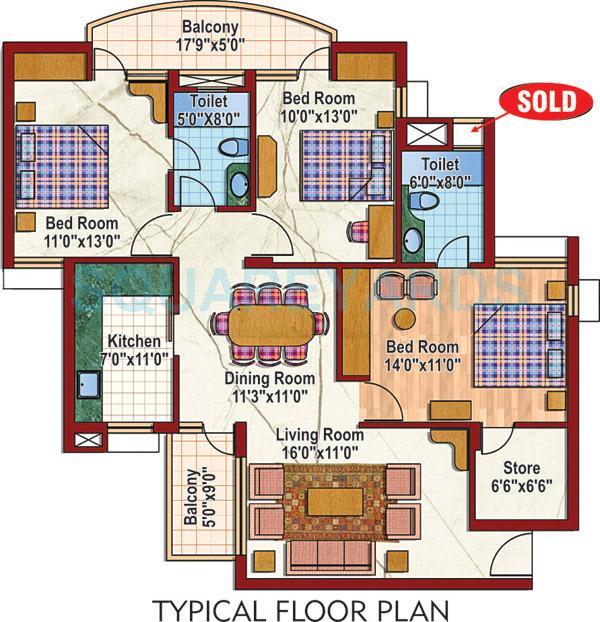 purvanchal silver city ii apartment 3bhk 1440sqft 1