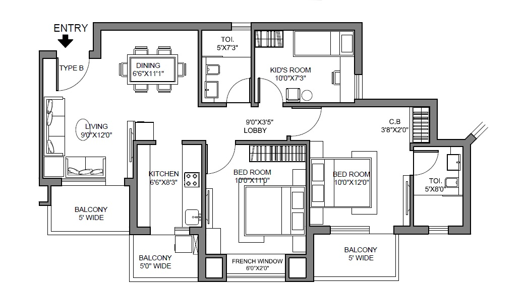 radhey krishna casa green i apartment 3bhk 1140sqft 31