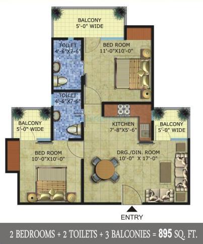 radicon vedantam apartment 2bhk 895sqft 1