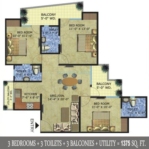 radicon vedantam apartment 3bhk 1375sqft 1