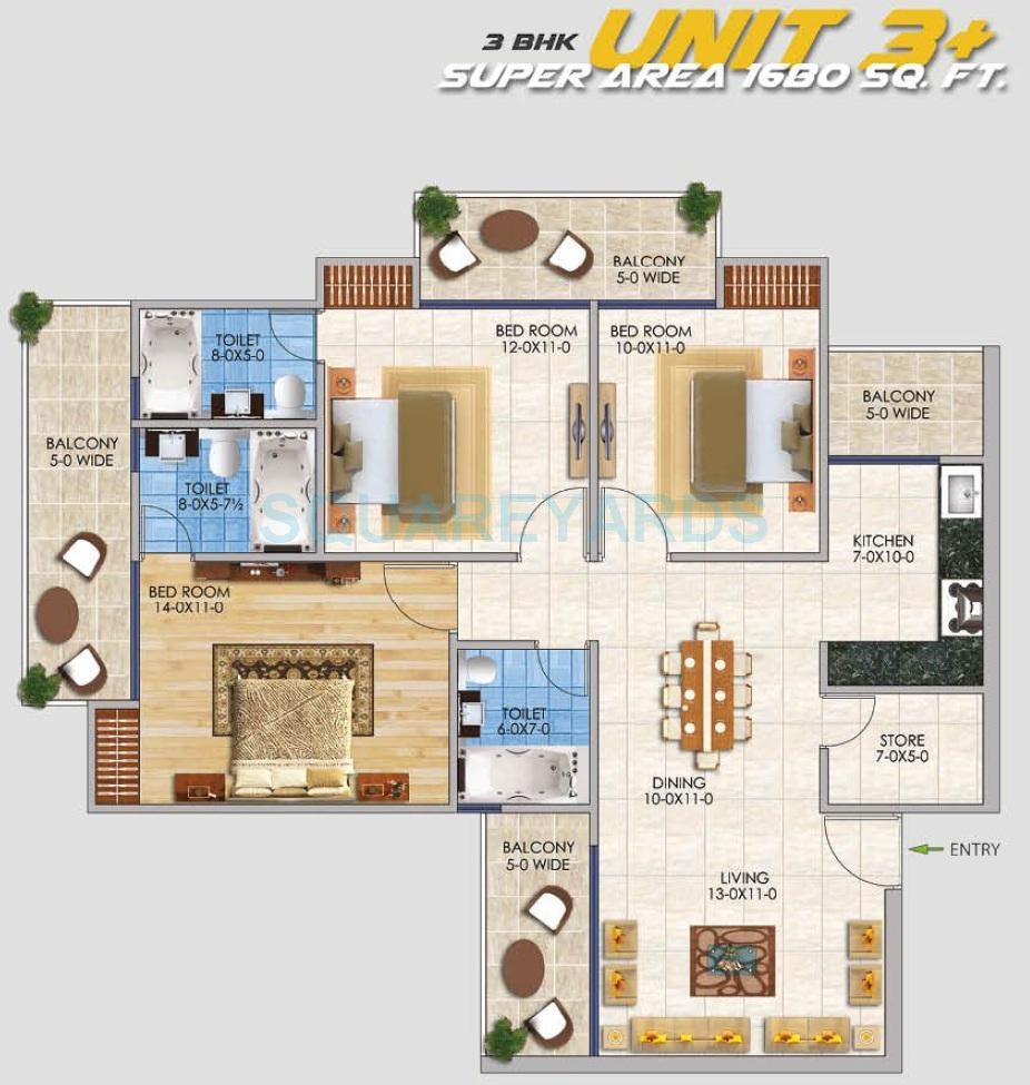 rsl sportshome apartment 3bhk 1680sqft 1