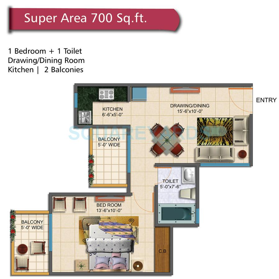 700 Square Feet Apartment 1 bhk 700 sq. ft. apartment for sale in rudra palace heights at rs