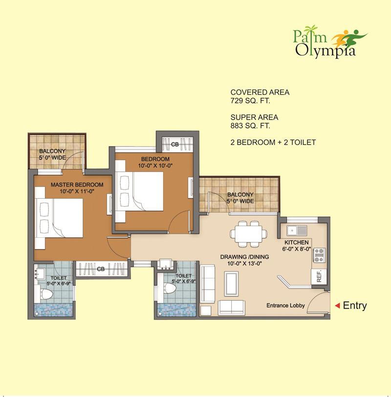 sam palm olympia apartment 2bhk 883sqft 1