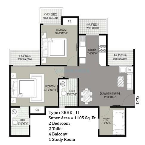 sethi max royle apartment 2bhk st 1105sqft 1
