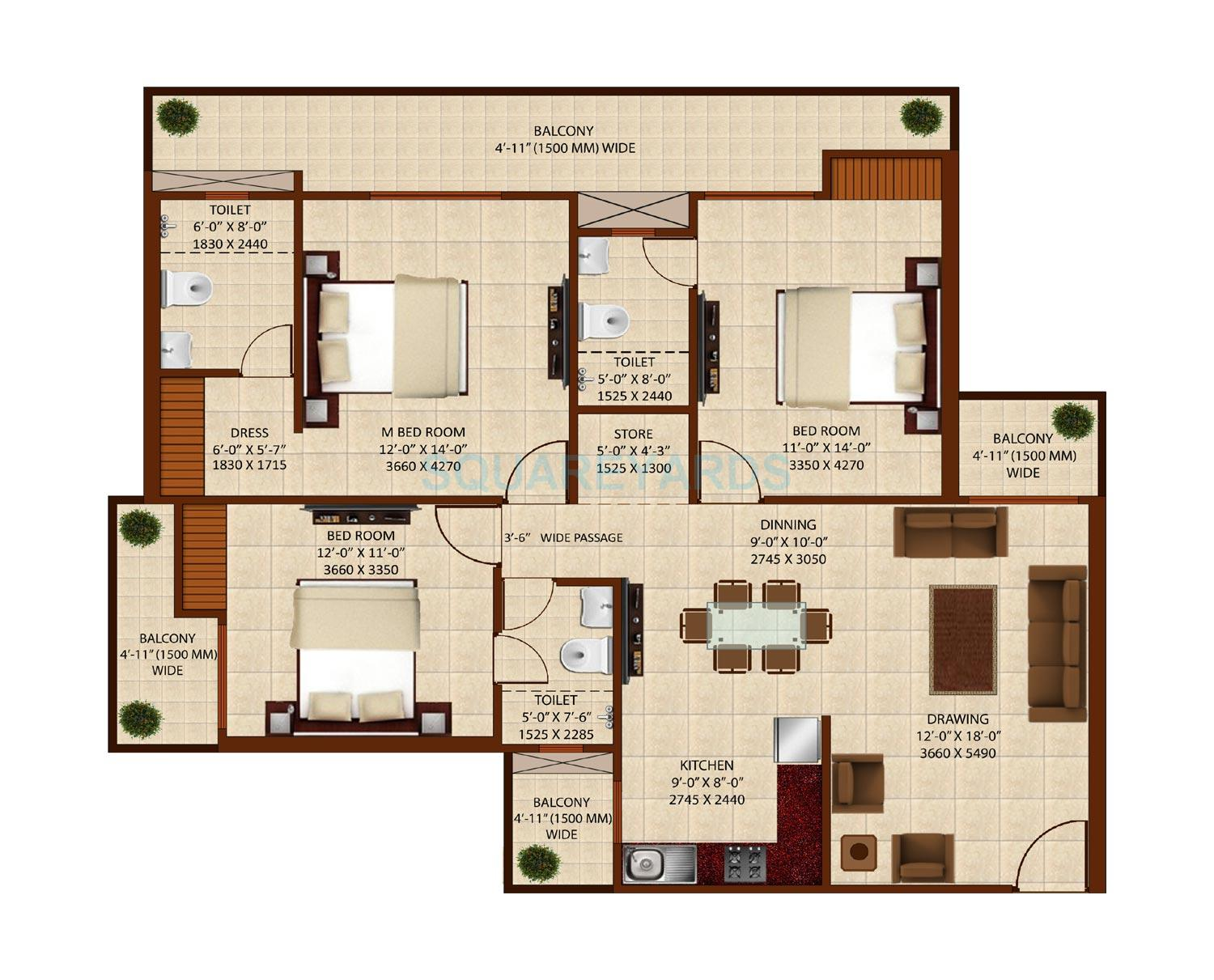3 BHK 1800 Sq Ft Apartment Floor Plan