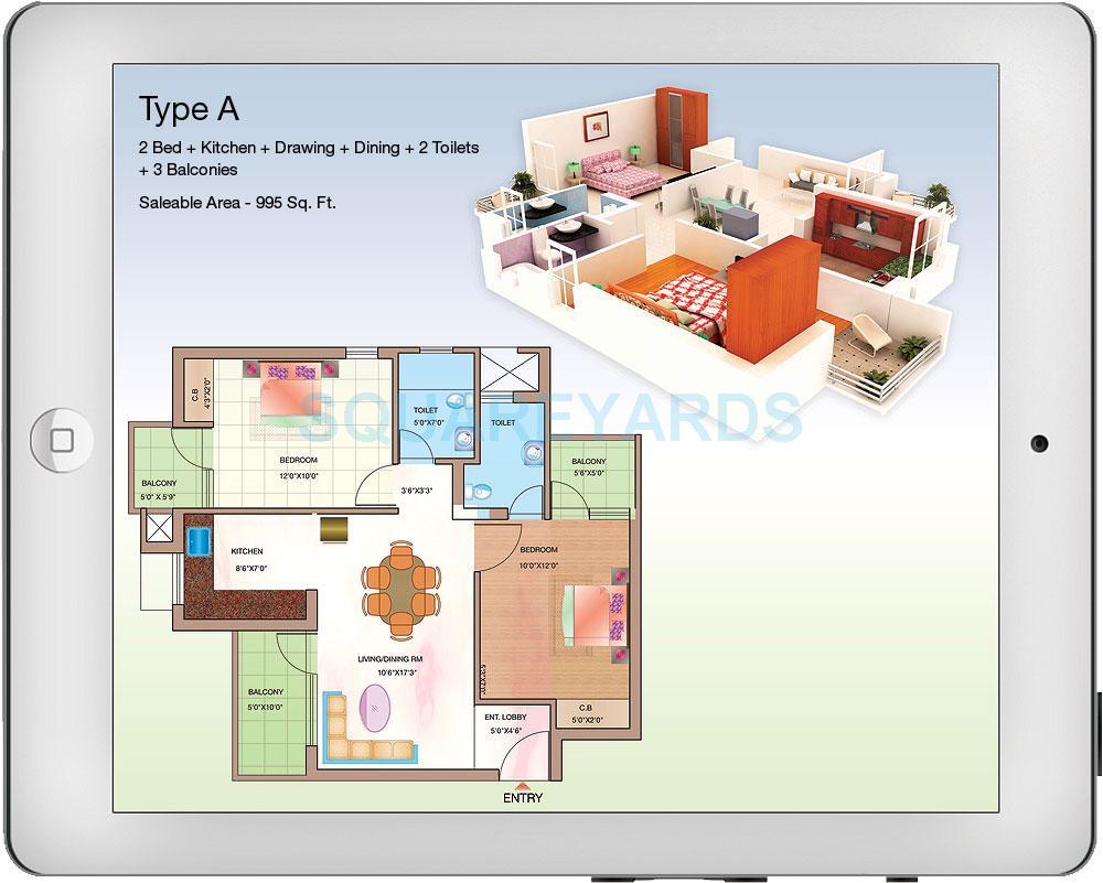 shubhkamna advert techomes apartment 2bhk 995sqft 1