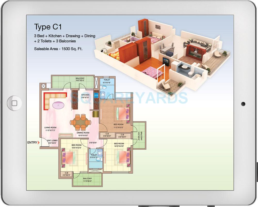 shubhkamna advert techomes apartment 3bhk 1500sqft 1