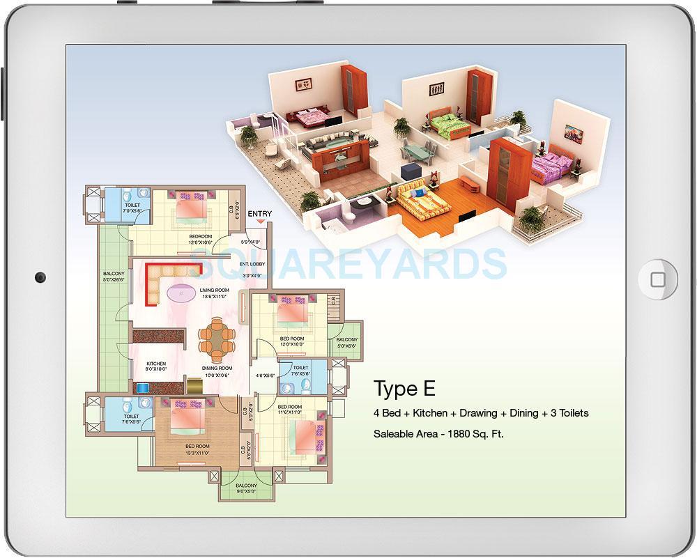 shubhkamna advert techomes apartment 4bhk 1880sqft 1