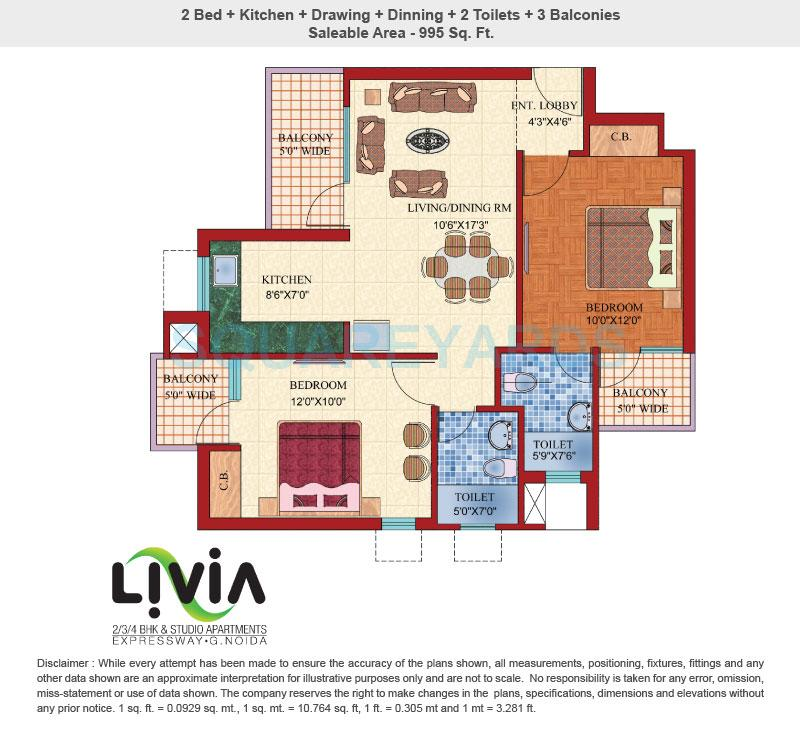 shubhkamna livia apartment 2bhk 995sqft 1
