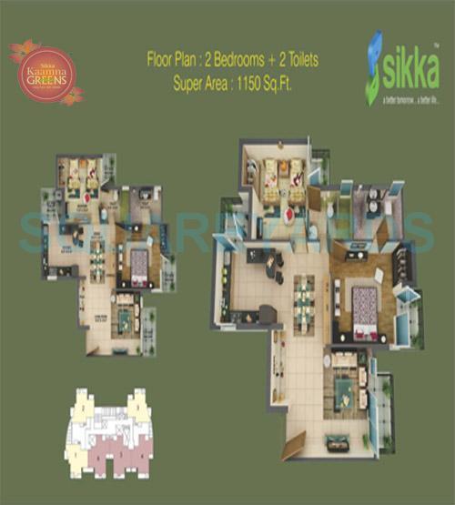 sikka kaamna apartment 2bhk 1150sqft 1