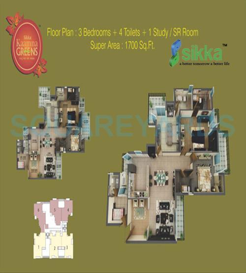 sikka kaamna apartment 3bhk sq 1700sqft 1