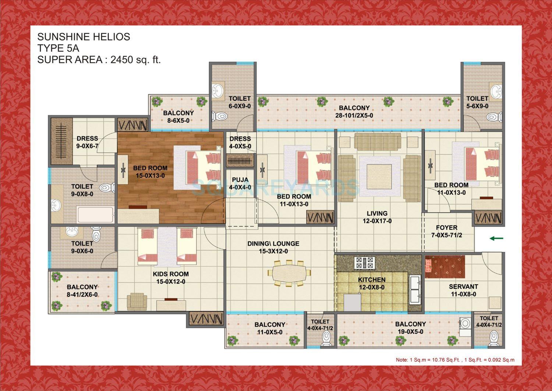 sunshine helios apartment 4bhk 2450sqft 1