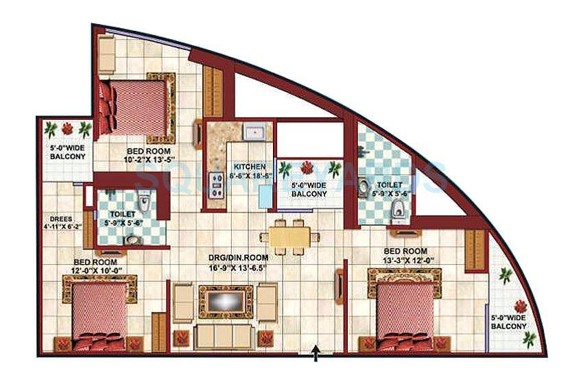 supertech apex tower apartment 3bhk 1475sqft 1