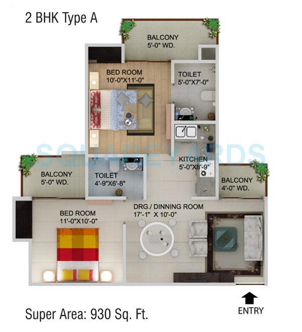 supertech cape town apartment 2bhk 930sqft 1