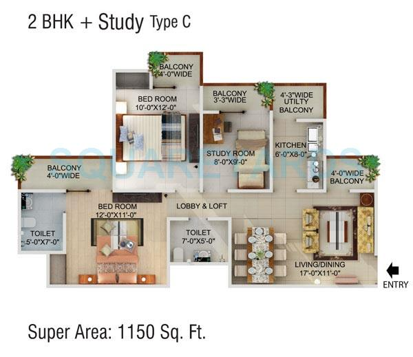 2 Bhk 1150 Sq Ft Apartment For Sale In Supertech Cape