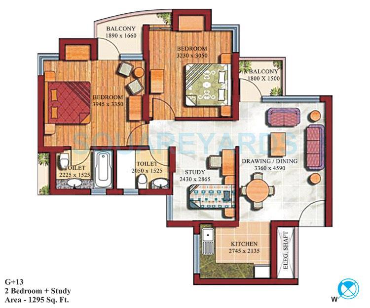 supertech czar suites apartment 2bhk 1295sqft 1