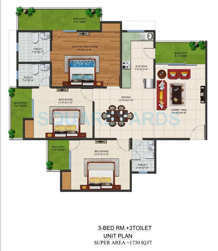 supertech czar suites apartment 3bhk 1730sqft 1