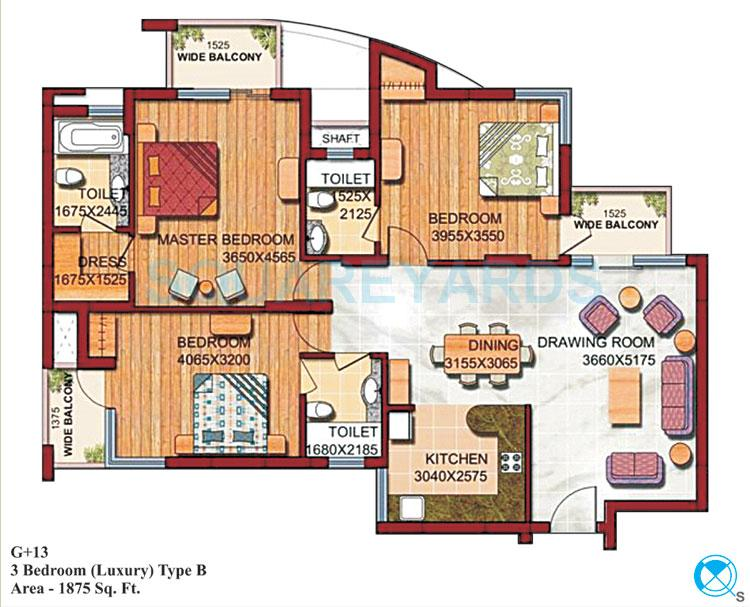 supertech czar suites apartment 3bhk 1875sqft 1